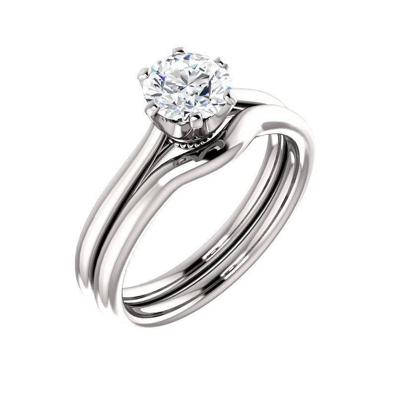 The Denice Round Moissanite Engagement Ring Rope Solitaire Setting White Gold With Matching Band
