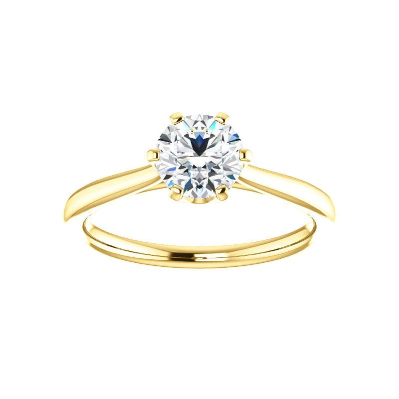 The Denice Round Moissanite Engagement Ring Rope Solitaire Setting Yellow Gold
