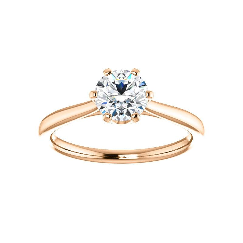 The Denice Round Moissanite Engagement Ring Rope Solitaire Setting Rose Gold