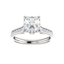 The Tracee Moissanite asscher moissanite engagement ring solitaire setting white gold