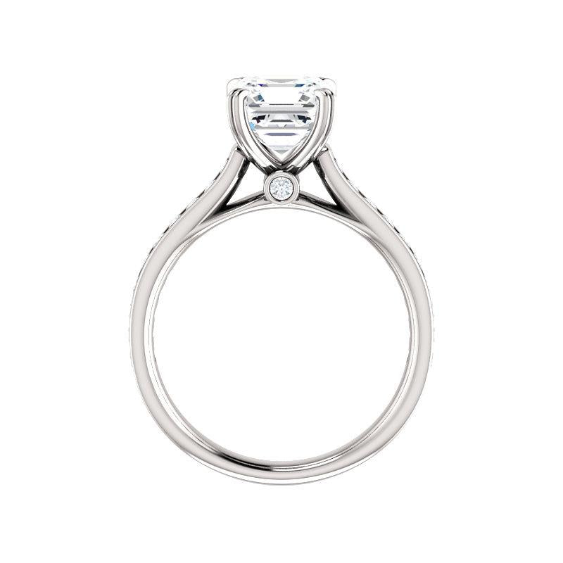 The Tracee Moissanite asscher moissanite engagement ring solitaire setting white gold side profile