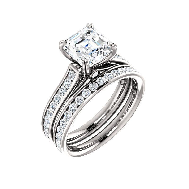 The Tracee Moissanite asscher moissanite engagement ring solitaire setting white gold with matching band