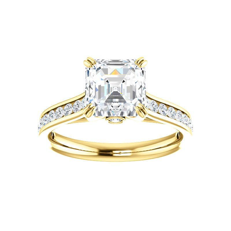 The Tracee Moissanite asscher moissanite engagement ring solitaire setting yellow gold