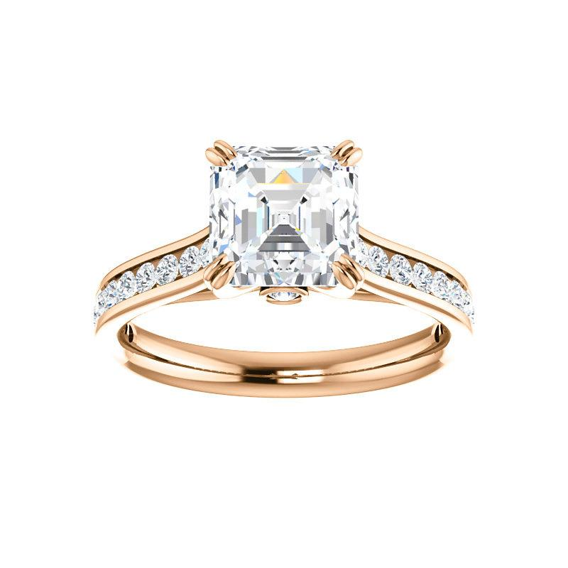 The Tracee Moissanite asscher moissanite engagement ring solitaire setting rose gold