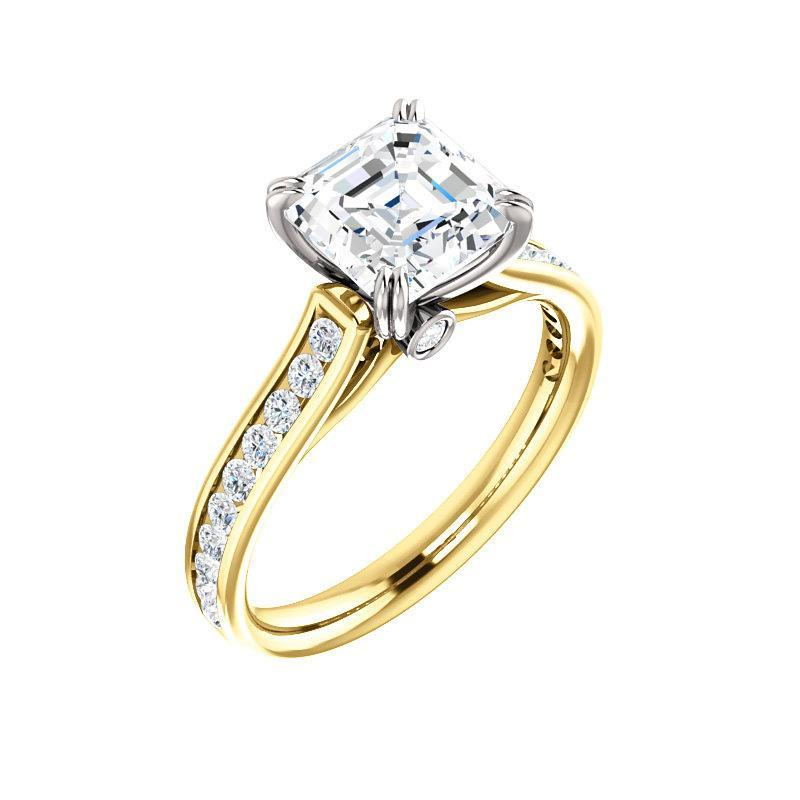 The Tracee Moissanite asscher moissanite engagement ring solitaire setting yellow gold and white gold basket