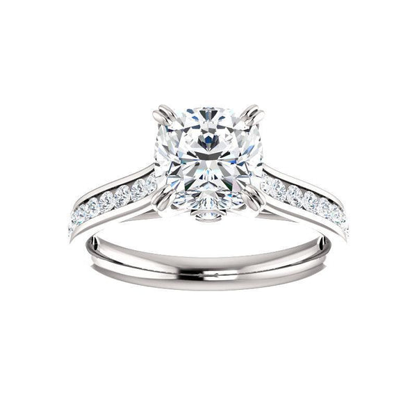 The Tracee Moissanite cushion moissanite engagement ring solitaire setting white gold