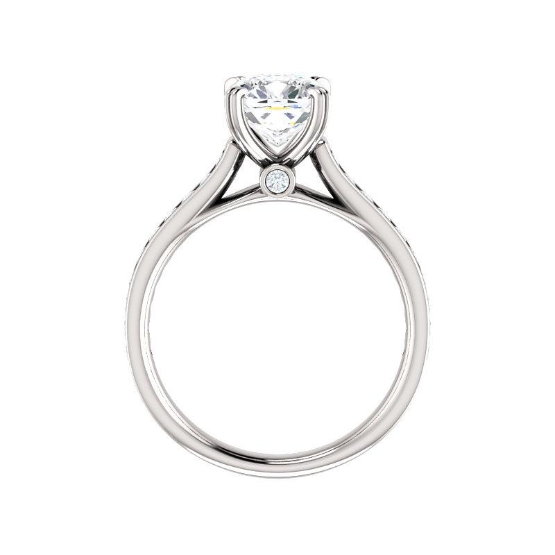 The Tracee Moissanite cushion moissanite engagement ring solitaire setting white gold side profile