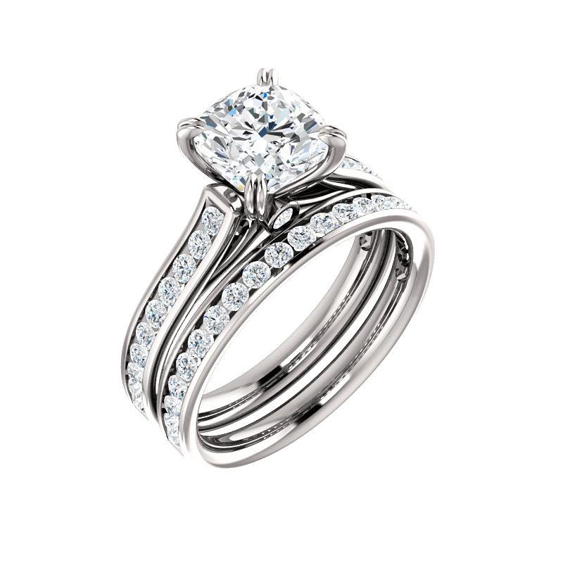 The Tracee Moissanite cushion moissanite engagement ring solitaire setting white gold with matching band