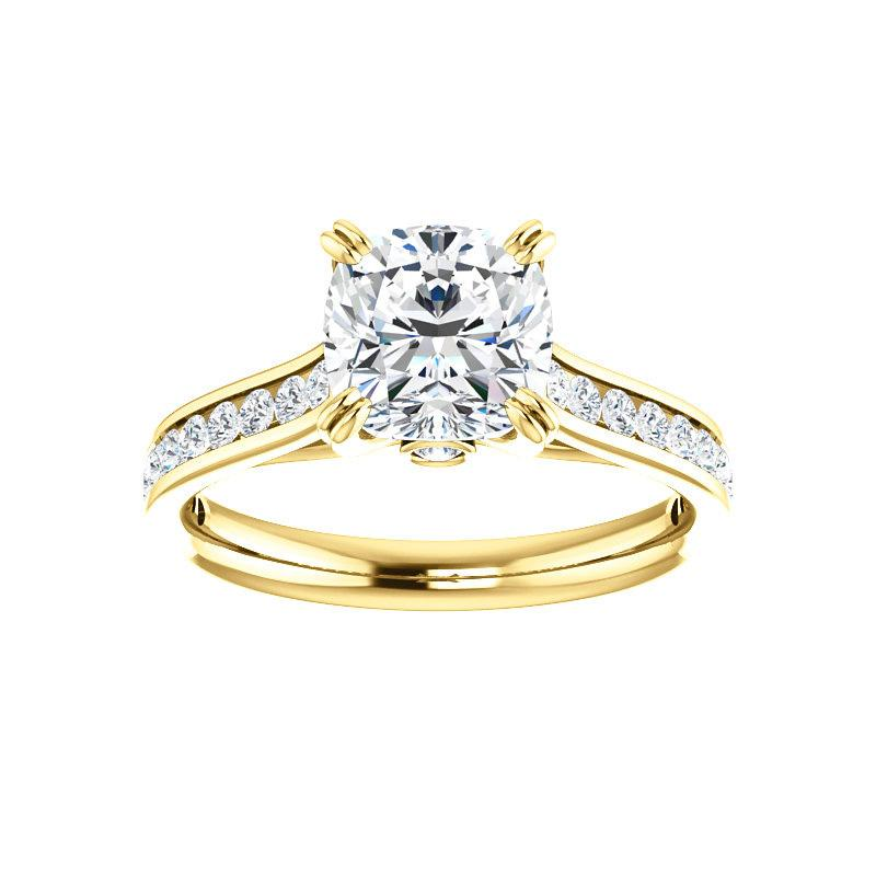 The Tracee Moissanite cushion moissanite engagement ring solitaire setting yellow gold