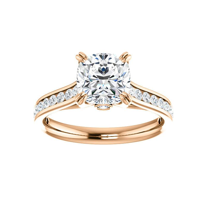 The Tracee Moissanite cushion moissanite engagement ring solitaire setting rose gold