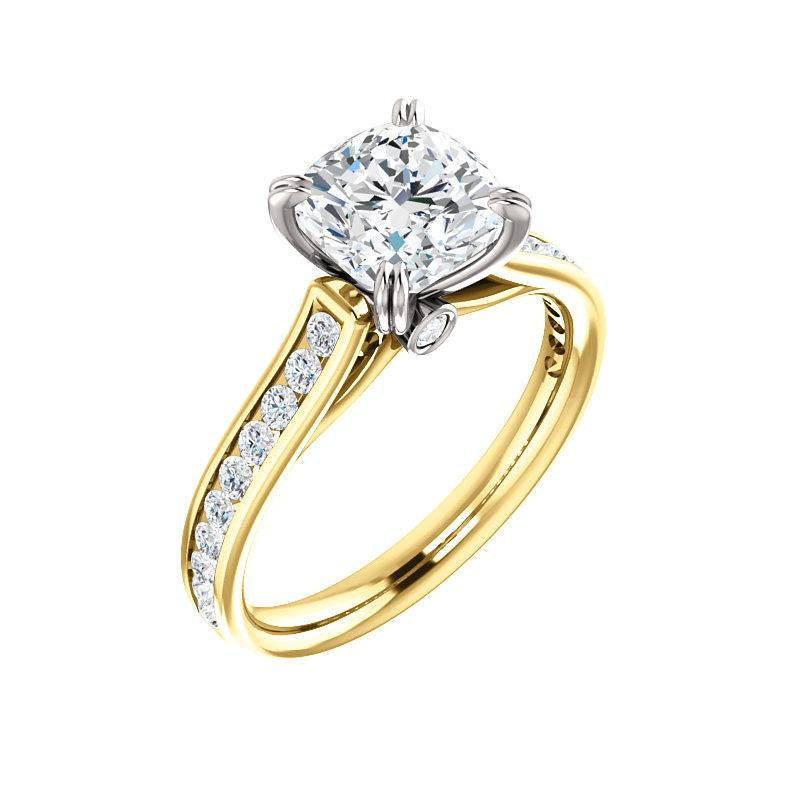 The Tracee Moissanite cushion moissanite engagement ring solitaire setting yellow gold and white gold basket