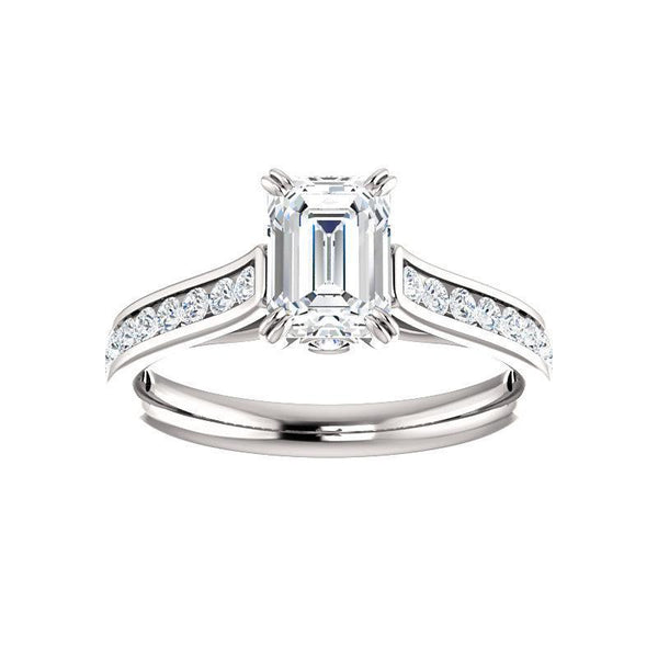 The Tracee Moissanite emerald moissanite engagement ring solitaire setting white gold
