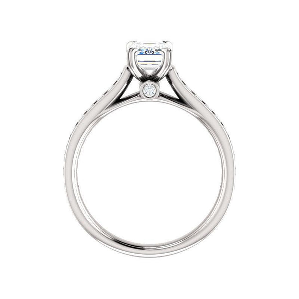 The Tracee Moissanite emerald moissanite engagement ring solitaire setting white gold side profile