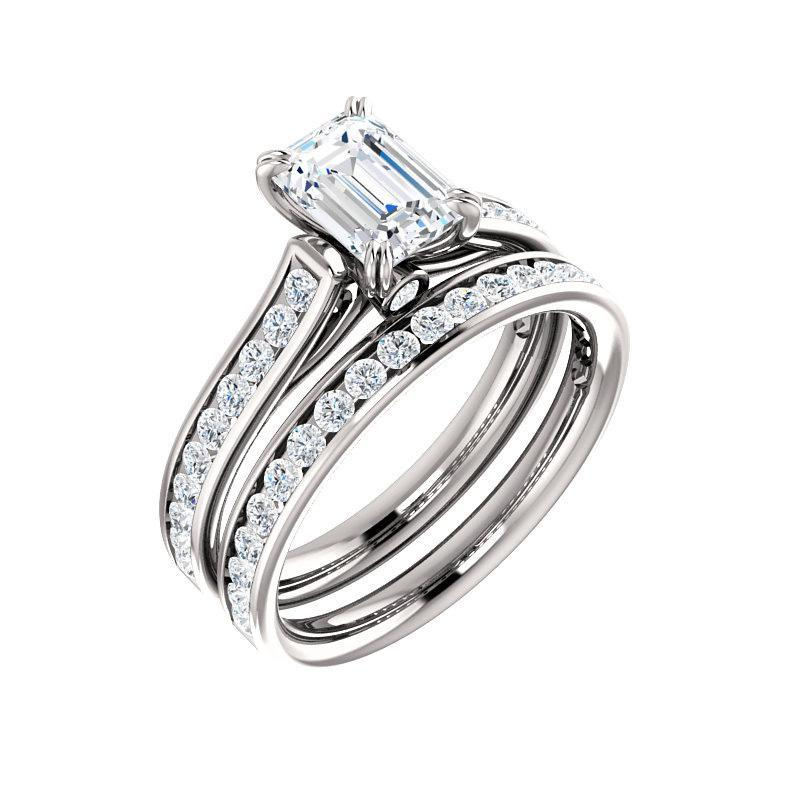 The Tracee Moissanite emerald moissanite engagement ring solitaire setting white gold with matching band
