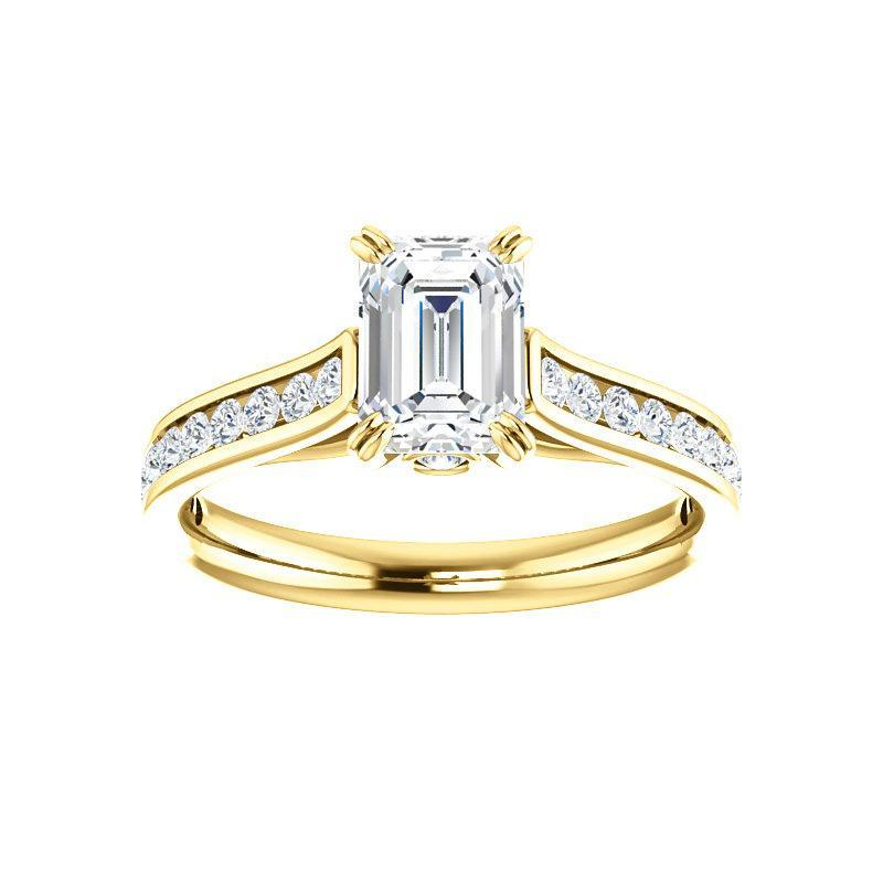 The Tracee Moissanite emerald moissanite engagement ring solitaire setting yellow gold