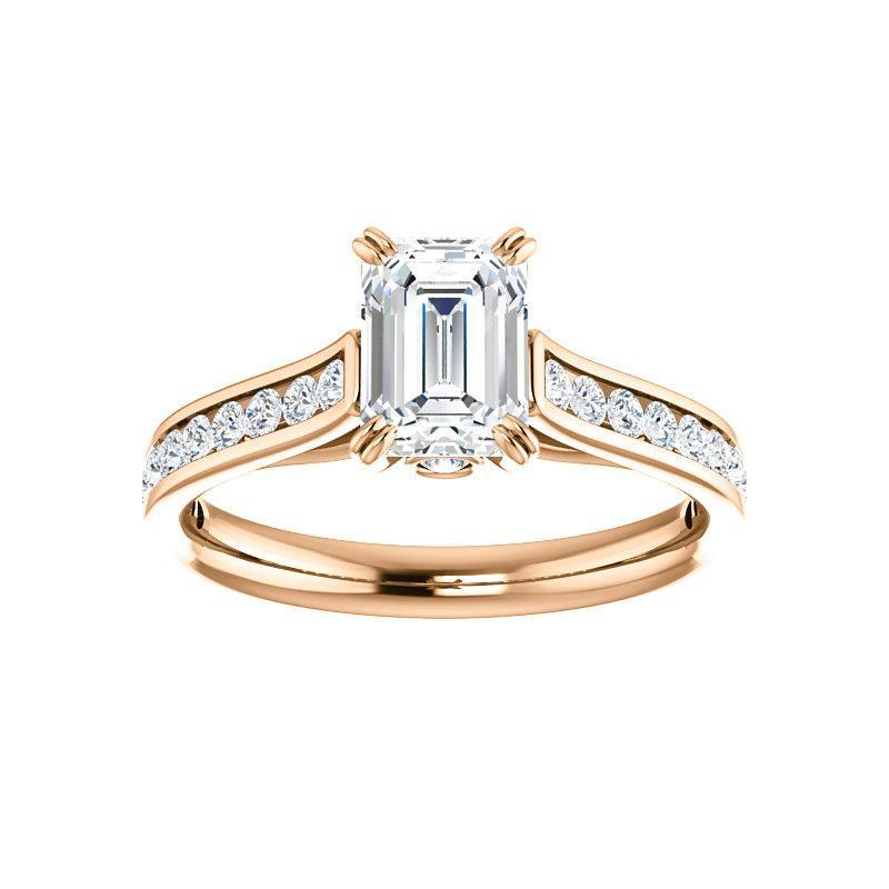 The Tracee Moissanite emerald moissanite engagement ring solitaire setting rose gold