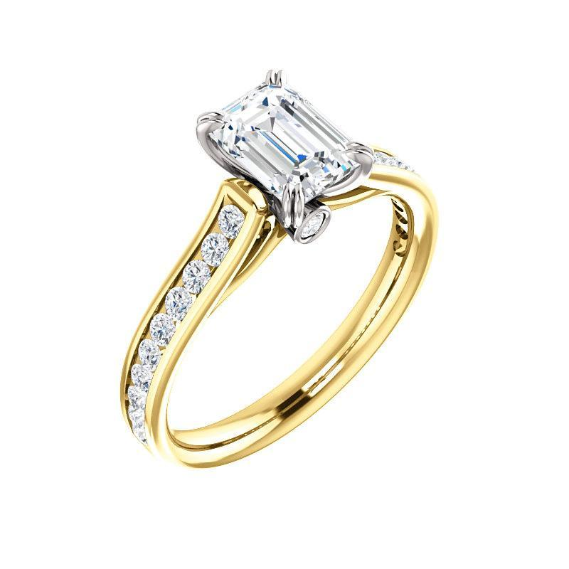 The Tracee Moissanite emerald moissanite engagement ring solitaire setting yellow gold and white gold basket