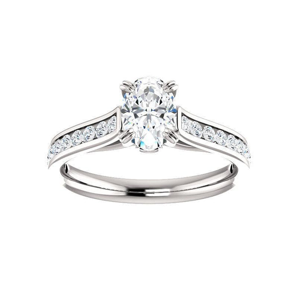 The Tracee Moissanite oval moissanite engagement ring solitaire setting white gold