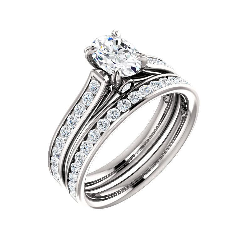 The Tracee Moissanite oval moissanite engagement ring solitaire setting white gold with matching band