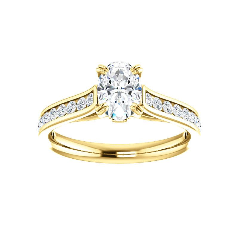 The Tracee Moissanite oval moissanite engagement ring solitaire setting yellow gold