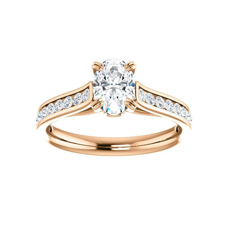 The Tracee Moissanite oval moissanite engagement ring solitaire setting rose gold