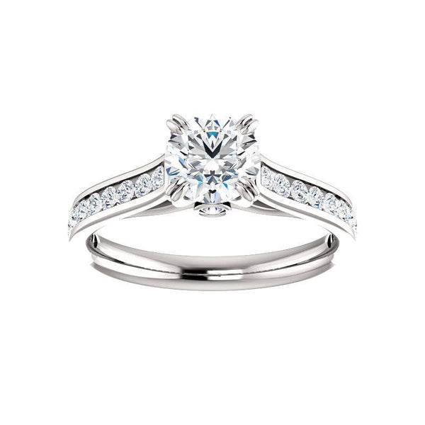 The Tracee Moissanite round moissanite engagement ring solitaire setting white gold