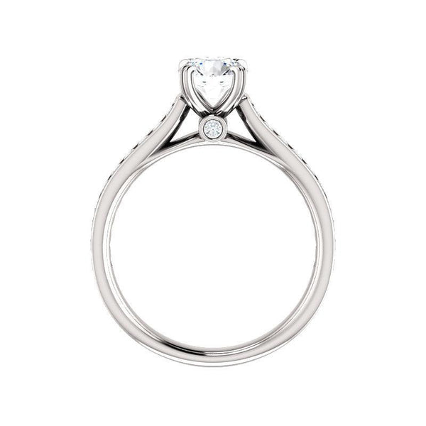 The Tracee Moissanite round moissanite engagement ring solitaire setting white gold side profile