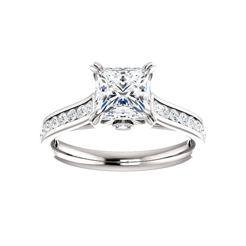 The Tracee Moissanite princess moissanite engagement ring solitaire setting white gold