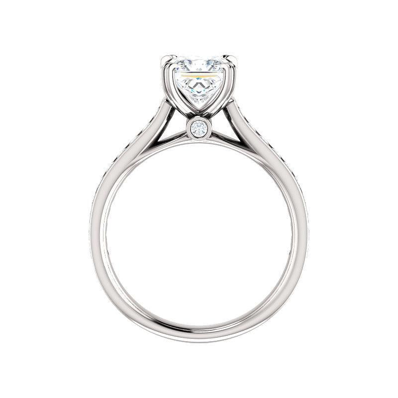 The Tracee Moissanite princess moissanite engagement ring solitaire setting white gold side profile