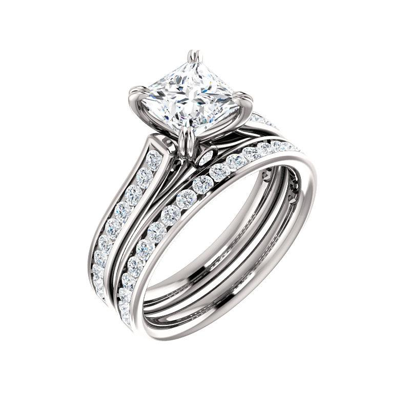 The Tracee Moissanite princess moissanite engagement ring solitaire setting white gold with matching band