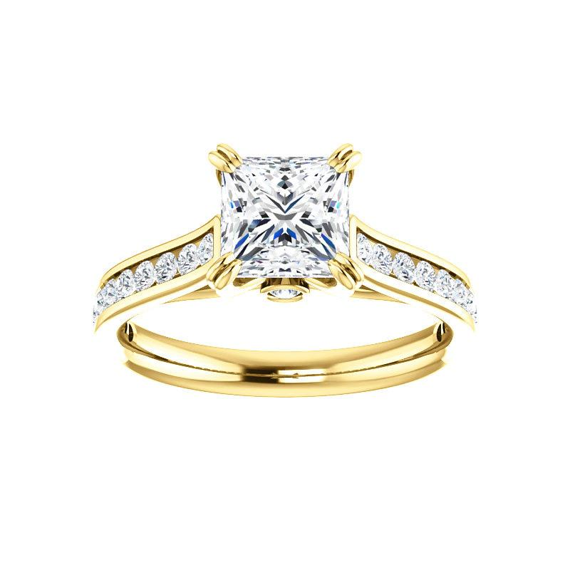 The Tracee Moissanite princess moissanite engagement ring solitaire setting yellow gold