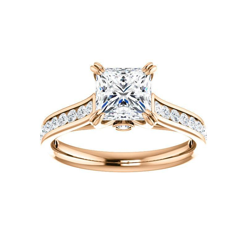 The Tracee Moissanite princess moissanite engagement ring solitaire setting rose gold