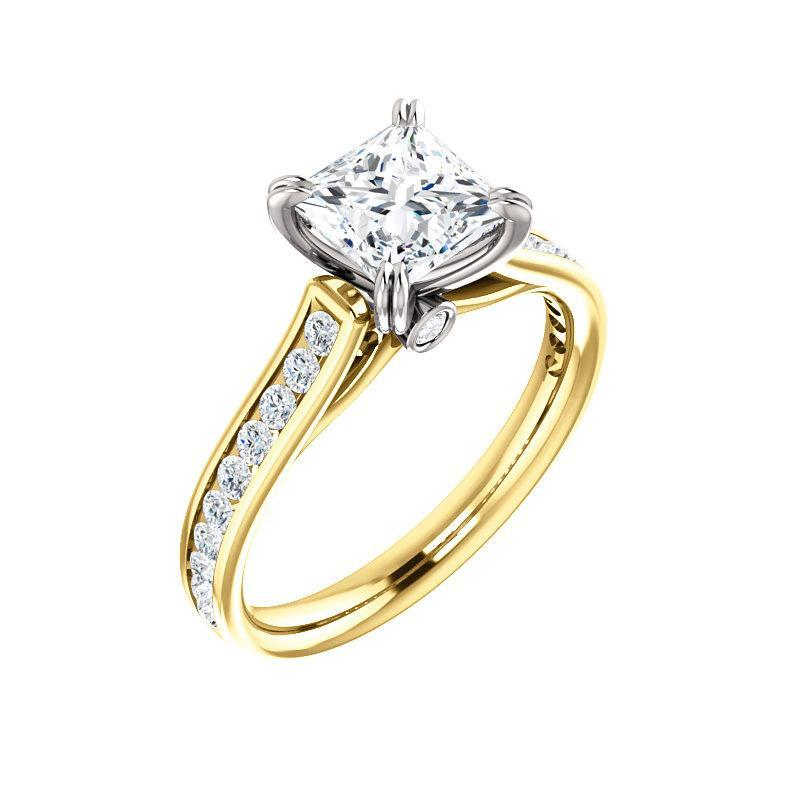 The Tracee Moissanite princess moissanite engagement ring solitaire setting yellow gold and white gold basket