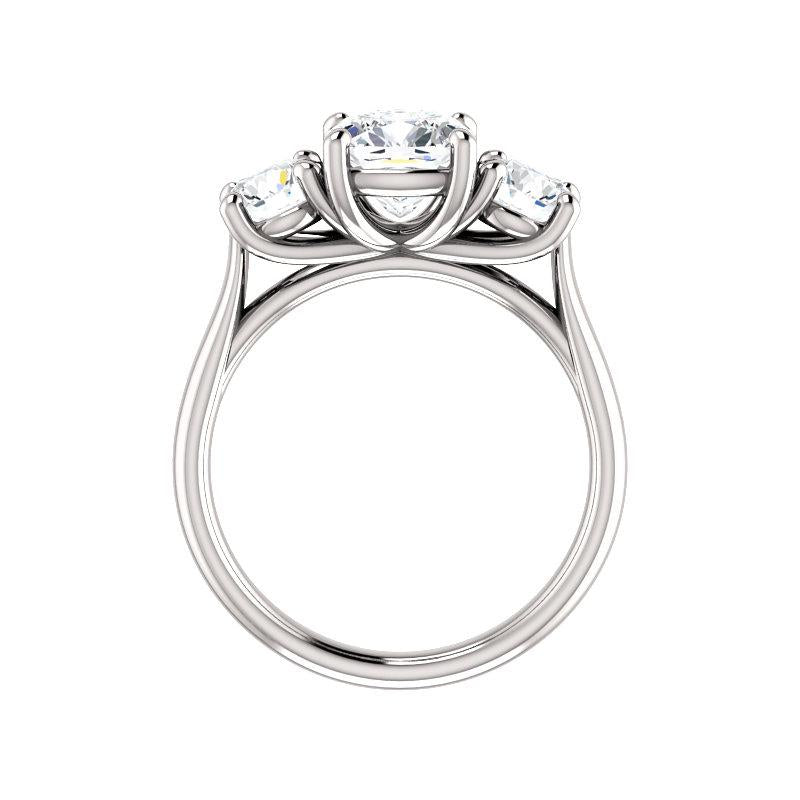 The Meghan Cushion Moissanite Engagement Threestone Ring Setting White Gold Side Profile