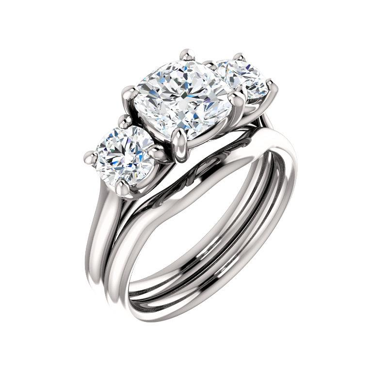The Meghan Cushion Moissanite Engagement Threestone Ring Setting White Gold With Matching Band