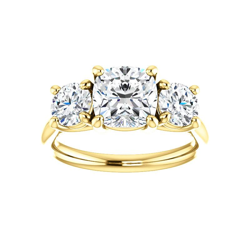 The Meghan Cushion Moissanite Engagement Threestone Ring Setting Yellow Gold