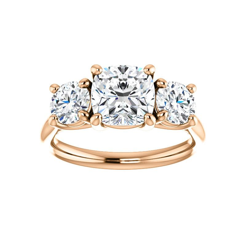 The Meghan Cushion Moissanite Engagement Threestone Ring Setting Rose Gold