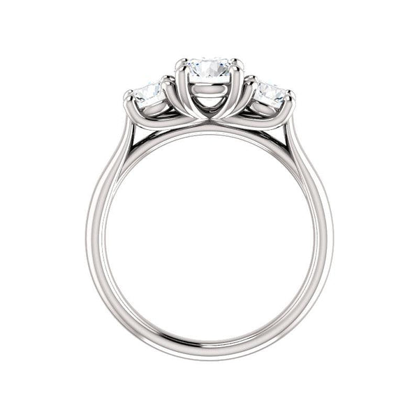 The Meghan Round Moissanite Engagement Threestone Ring Setting White Gold Side Profile