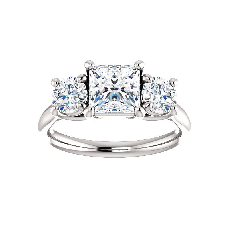 The Meghan Princess Moissanite Engagement Threestone Ring Setting White Gold