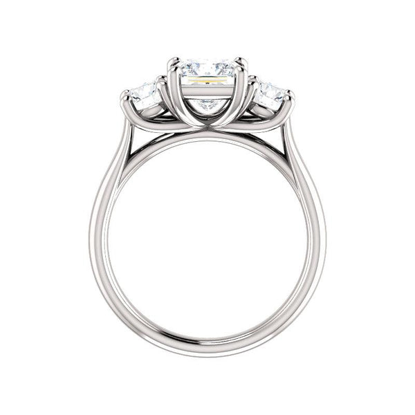 The Meghan Princess Moissanite Engagement Threestone Ring Setting White Gold Side Profile