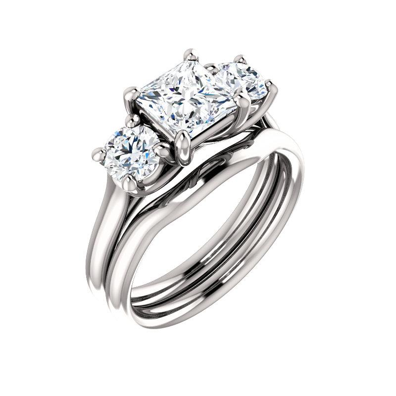 The Meghan Princess Moissanite Engagement Threestone Ring Setting White Gold With Matching Band