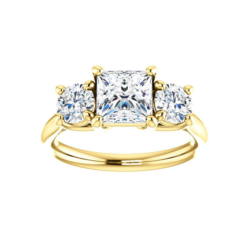 The Meghan Princess Moissanite Engagement Threestone Ring Setting Yellow Gold