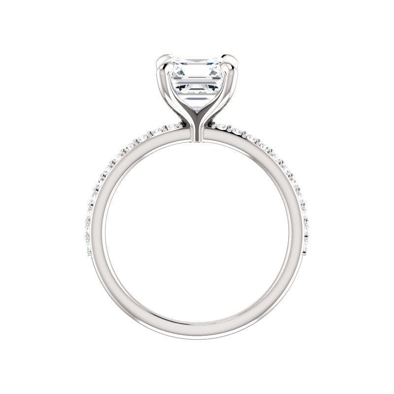 The Kathe Moissanite asscher moissanite engagement ring solitaire setting white gold side profile