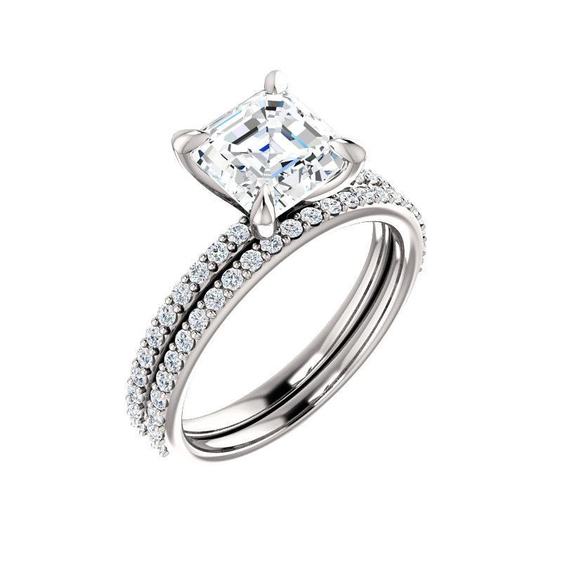 The Kathe Moissanite asscher moissanite engagement ring solitaire setting white gold with matching band