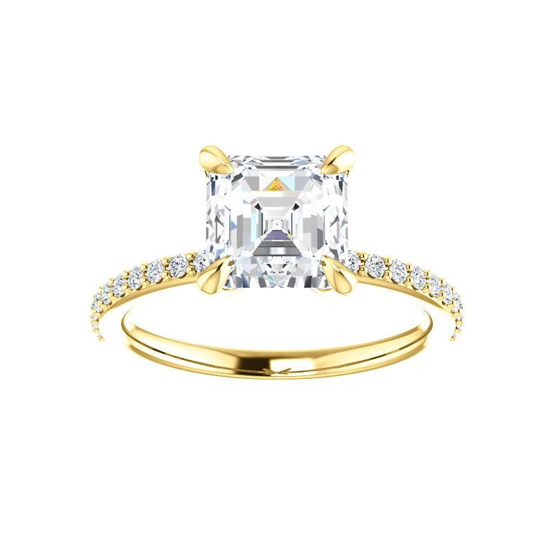 The Kathe Moissanite asscher moissanite engagement ring solitaire setting yellow gold