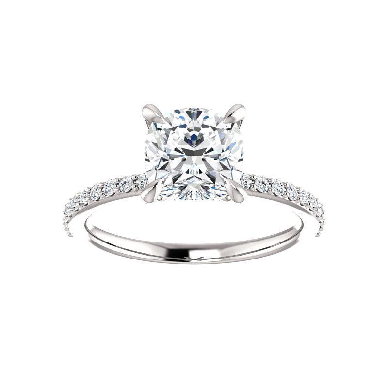 The Kathe Moissanite cushion moissanite engagement ring solitaire setting white gold
