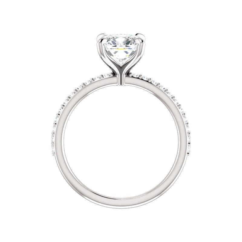 The Kathe Moissanite cushion moissanite engagement ring solitaire setting white gold side profile
