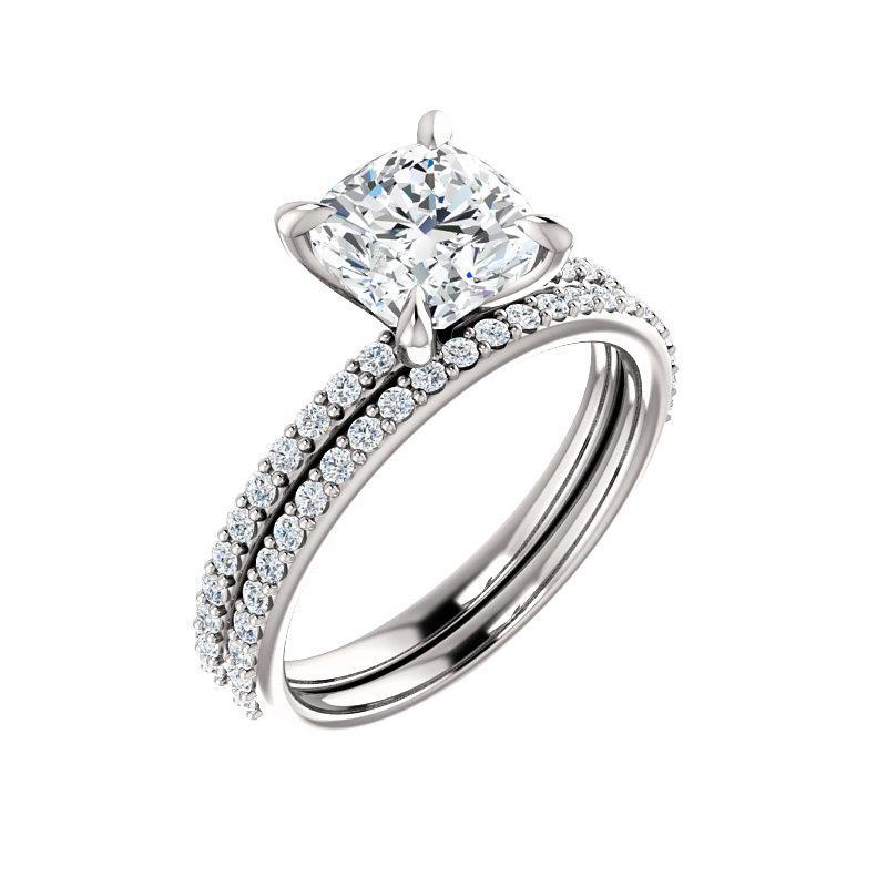 The Kathe Moissanite cushion moissanite engagement ring solitaire setting white gold with matching band