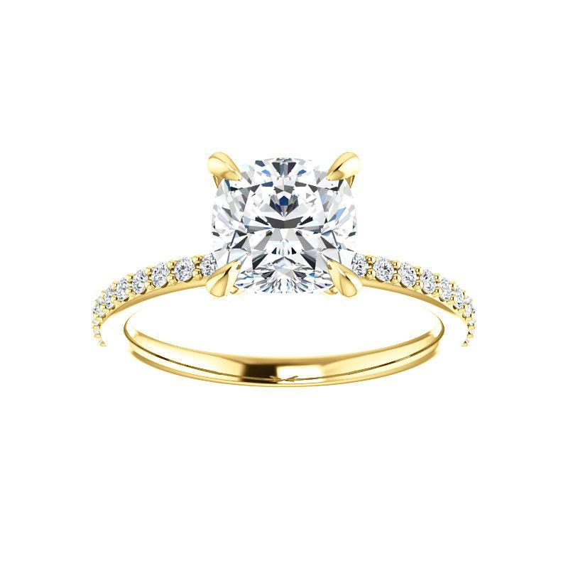 The Kathe Moissanite cushion moissanite engagement ring solitaire setting yellow gold
