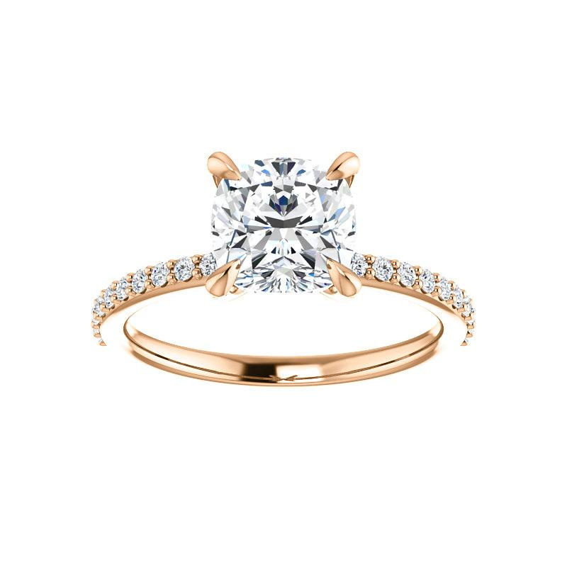 The Kathe Moissanite cushion moissanite engagement ring solitaire setting rose gold